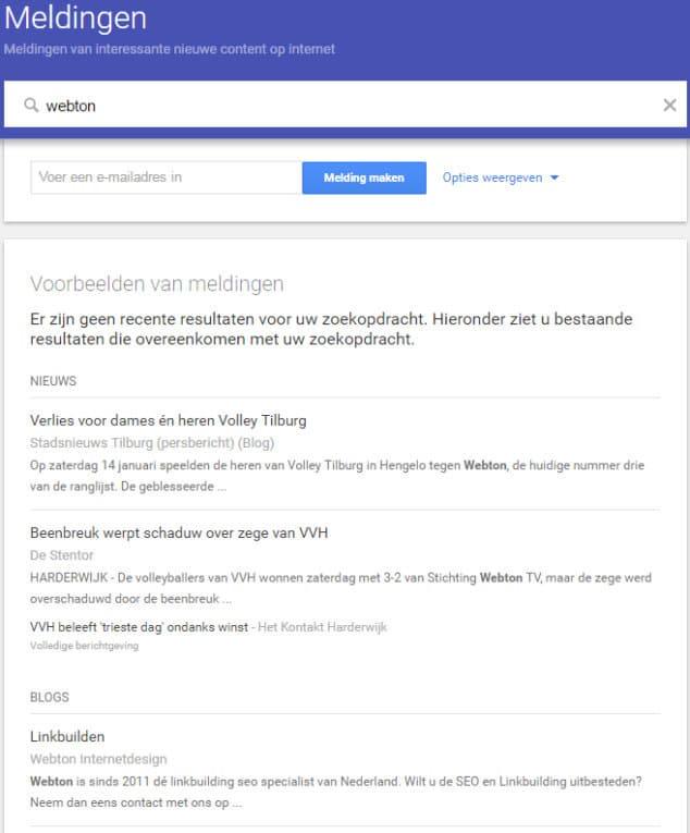 google alerts meldingen