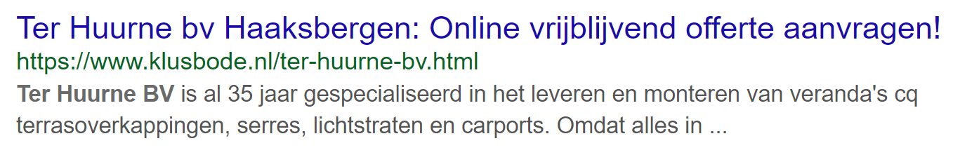 google zoekresultaten bedrijfsnaam