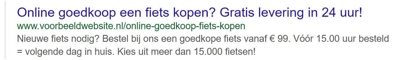 Een voorbeeld van een goede meta tekst voor Google