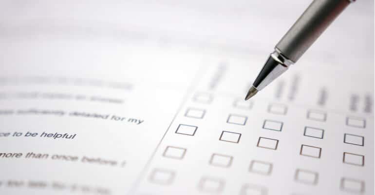 Een vragenlijst invullen bij een usability test